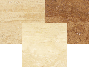 Production travertine tiles